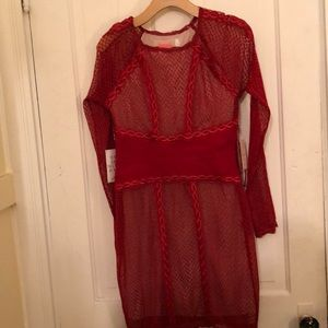 Free People sexy red lace bodycon dress M New